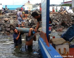 laborious transport of the oxygen to the island of Bunaken