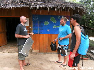 Discussion with Roberto in front of the Dive Center