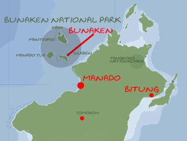 Map of Bunaken Nationalpark